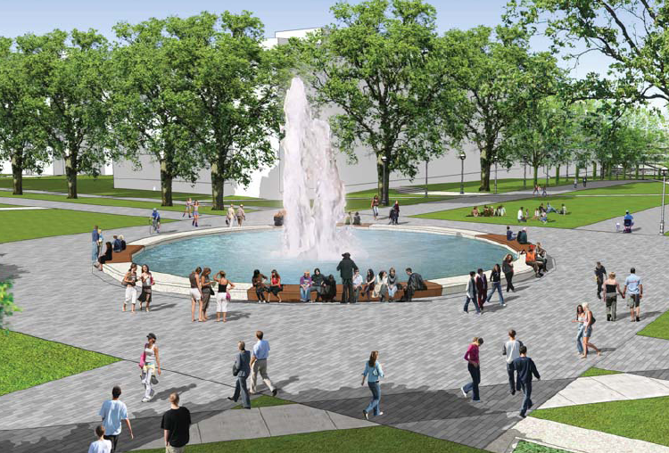 Artist's Rendering of the fountain at Martha Piper Plaza.